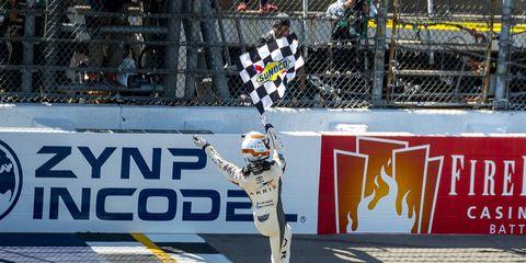 Daniel Suárez breaks through for historic NASCAR Xfinity win for Toyota at Michigan International Speedway