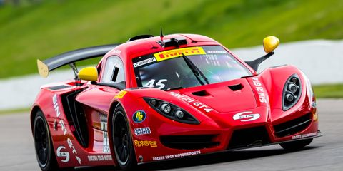 Jade Buford pilots his No. 45 Racer's Edge SIN R1 GT4 to the checkered flag.