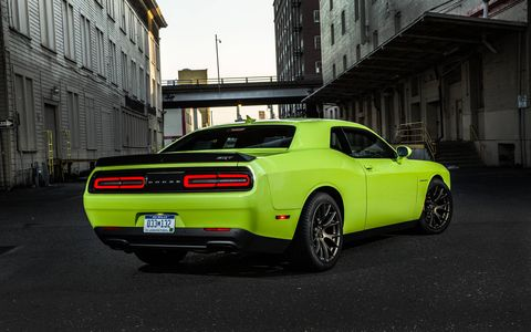 The 2015 Dodge Challenger Hellcat gets 650 lb-ft of torque, sent to the rear wheels.