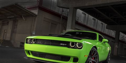 The 2015 Dodge Challenger Hellcat makes 707 hp from a 6.2-liter supercharged V8.