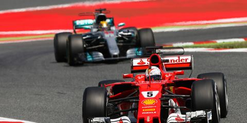 Sebastian Vettel, front, leads Lewis Hamilton by 14 points in the standings heading to Austria.