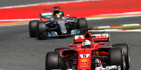 Sebastian Vettel leads Lewis Hamilton by six points in the Formula 1 drivers' standings.