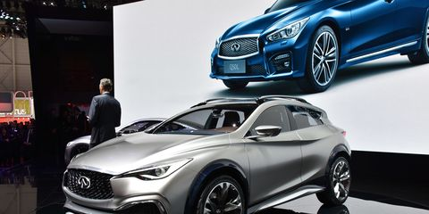 The Infiniti QX30 concept was officially revealed at the Geneva auto show Monday.