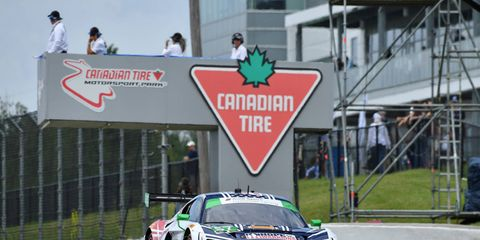 Andrew Davis and Lawson Aschenbach put Stevenson Motorsports at the top of the podium in the GTD class of the IMSA WeatherTech SportsCar Championships race at Canadian Tire Motorsports Park.