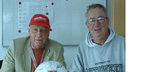 Pearce spent four years collecting autographs of Formula 1 champions, including time in Europe with stars such as three-time champion Niki Lauda, left.