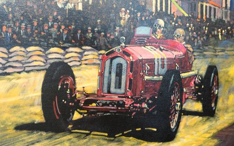 Rowe depicts an Alfa Romeo 8C from the Golden Era of Grand Prix racing.