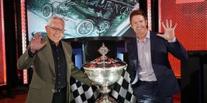 Chip Ganassi Racing technical boss Mike Hull and five-time series champion Scott Dixon celebrate another title on Tuesday night in Indianapolis.