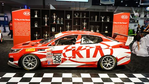 Kia's production-based Optima GTS race car gets a new livery, before it heads to its first race next March in Austin.