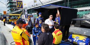Andretti Autosport drivers and crew members debrief following Wednesday practice for the Indianapolis 500.