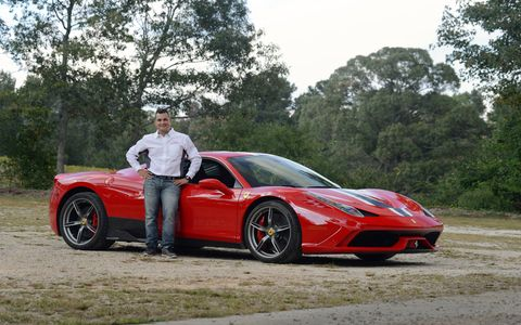 Alesandro Balzan with the Ferrari 458 Speciale