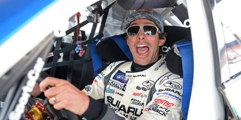 Travis Pastrana is back to running up front with the Subaru Rally Team USA car.