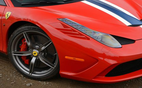 Front quarter of the Ferrari 458 Speciale.