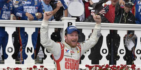 Dale Earnhardt Jr. celebrates his third win of the NASCAR Sprint Cup season on Sunday at Pocono Raceway.