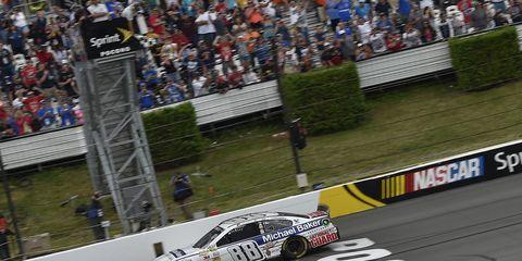 Dale Earnhardt Jr.takes the checkered flag in Pocono.