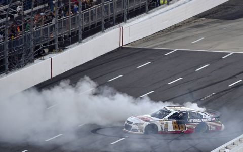 Dale Earnhardt Jr. burns at little rubber in Virginia on Sunday.