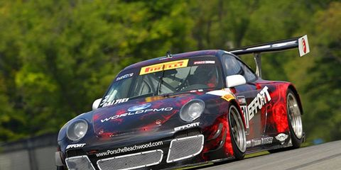 Ryan Dalziel took the checkered flag for Porsche at Mid-Ohio on Saturday in the first race of a Pirelli World Challenge weekend doubleheader.