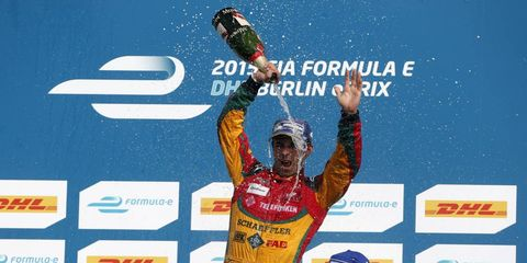 Lucas di Grassi celebrates after winning the Formula E race in Germany. His car was later disqualified for a failed inspection.