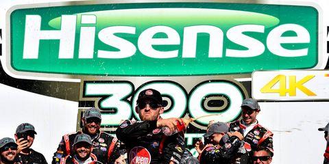 NASCAR Sprint Cup Series regular Austin Dillon celebrates his second NASCAR Xfinity Series race win of the season on Saturday in Charlotte, N.C.