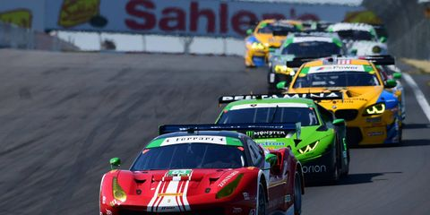 Christina Nielsen and Alessandro Balzan lead the pack at Watkins Glen on the way to a class victory.