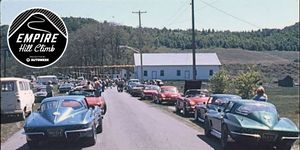 Corvettes line up to run the course at the Empire Hill Climb sometime in the late 1960s; safety was less of a concern back then, and these all appear to be largely stock.
