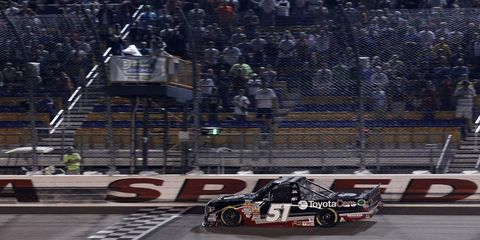 Erik Jones won the Camping World Truck Series race on July 11 at Iowa Speedway. His No. 51 truck, however, failed postrace inspection after its right height failed to meet minimum NASCAR standards.
