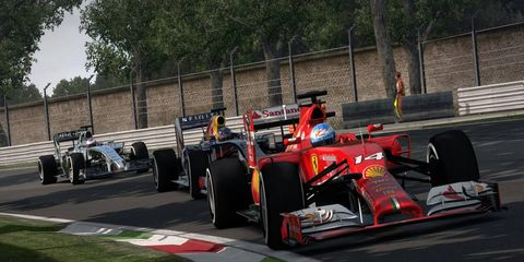 A Ferrari leads in F1 2014 by Codemasters.