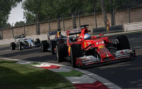 A Ferrari leads in F1 2014 by Codemasters.