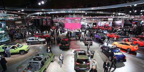 Fiat Chrysler's display at the 2016 Detroit auto show.