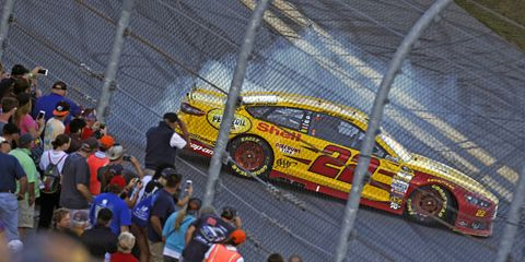 Joey Logano burns out after winning the Daytona 500. A Ford driver won every single points race at Daytona this year.