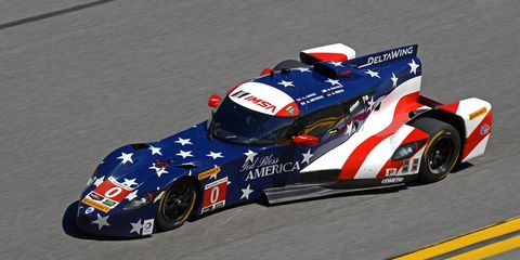 Katherine Legge put the DeltaWing coupe in the No. 1 position in the early stages of the Rolex 24 at Daytona.