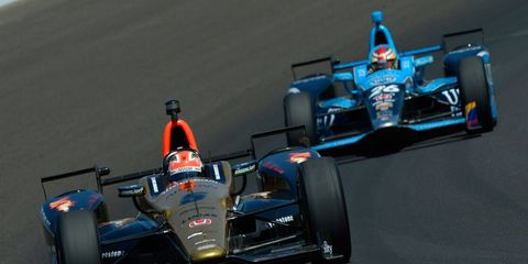 James Hinchcliffe (5) starts from the pole on Sunday after missing last year's race due to an injury.