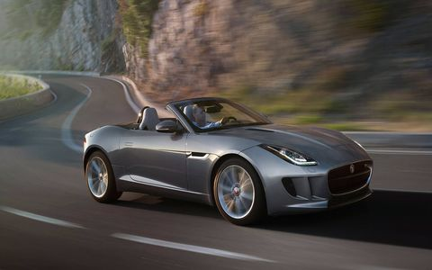 The 2014 Jaguar F-Type S Convertible is equipped with a 3.0-liter supercharged V6 joined with a eight-speed automatic transmission.