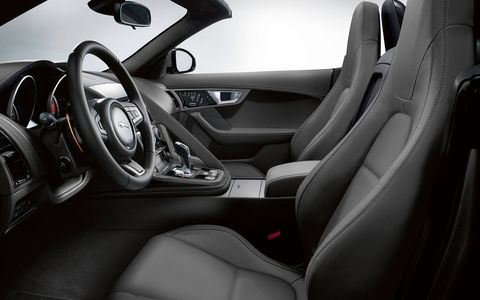 Soft grain leather is seen everywhere in our test 2014 Jaguar F-Type S Convertible that included the optional extended leather package.