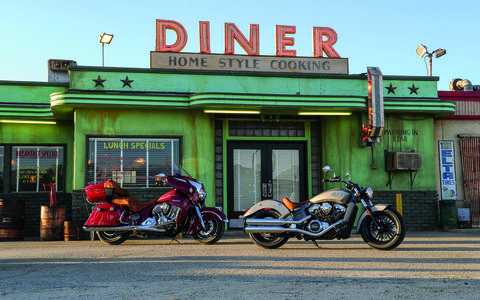 The 2015 Indian Scout pictured with its bigger brother the Indian Chief