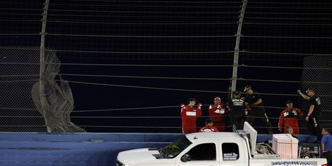 Mikhail Aleshin was involved in a devastating wreck on Friday night in Fontana.
