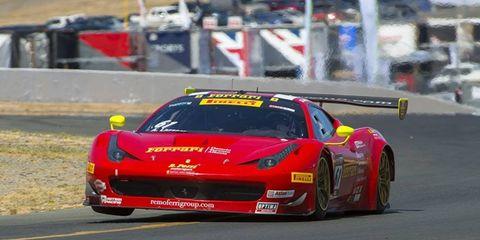 Anthony Lazzaro drove an R.Ferri Motorsports/Ferrari 458 GT3 Italia to the overall win at Sonoma on Sunday.