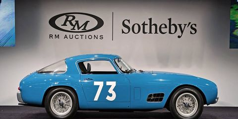 RM Sotheby's had no trouble topping last year's Monterey sale, with this 1956 Ferrari 250 GT Berlinetta Competizione 'Tour de France' selling for $13.2 million. Not every auction house manged similar gains.