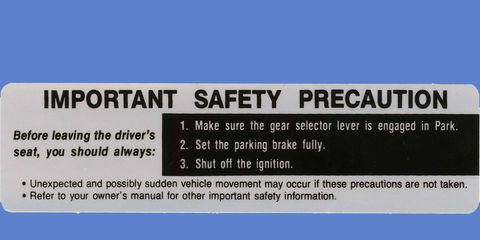 You still see plenty of examples of the 23 million warning decals that Ford sent out in the early 1980s.