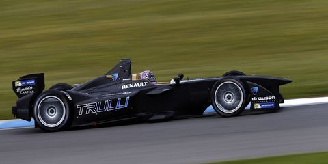 Formula E driver Michela Cerrut on FIA Formula E test day in Donington Park, UK in July. Cerrut is one of two female drivers to compete in the upcoming Formula E season.