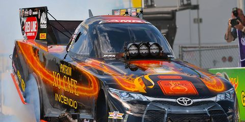 Defending race winner Alexis DeJoria is attempting to repeat in Funny Car at the U.S. Nationals.