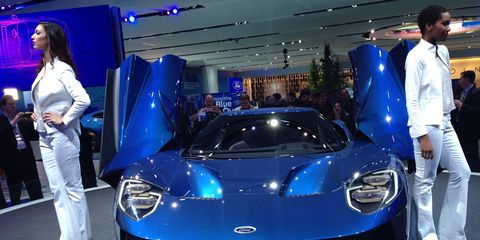 Ford took the wraps off its GT supercar on Monday in Detroit.