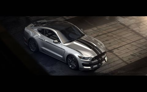 The Shelby GT350 gets a lowered and sloped hood, a resculpted front fascia and more.