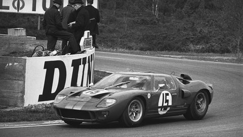 The No. 15 Ford GT40 Mk II testing at the Circuit de la Sarthe in April 1966 prior to the 24 Hours of Le Mans that year.