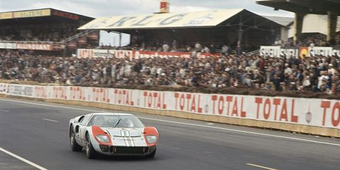 The Ford GT40 Mk II piloted by Ken Miles and Denny Hulme during the 24 Hours of Le Mans in 1966. Miles and Hulme went on to  finish second in the race, sandwiched between two other GT40s in an all-Ford podium.