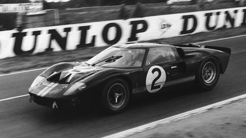 A shot of the No. 2 Ford GT40 Mk II piloted by Chris Amon and Bruce McLaren during the 1966 24 Hours of Le Mans. The No. 2 GT40 ended up winning the race, the first win in a four-year win streak by Ford and the GT40 sports cars at Circuit de la Sarthe.