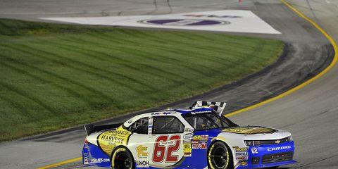 Richard Childress Racing's Brendan Gaughan celebrating his NASCAR Nationwide victory at Kentucky Speedway last weekend.