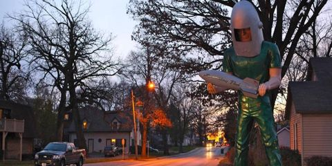 The Gemini Giant stands outside the Launching Pad Drive-in in Wilmington, Illinois. It is one of the few roadside giants remaining along Route 66.
