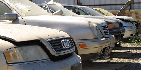 It's the German Luxury Apocalypse in a California wrecking yard!