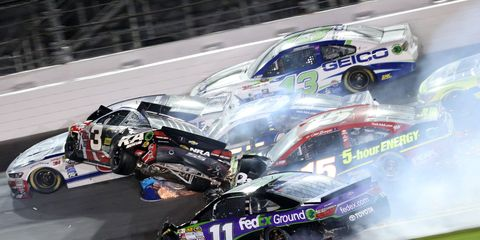 Yep, this photo is all too real. Austin Dillon came away from the crash it captures with just some bruises.