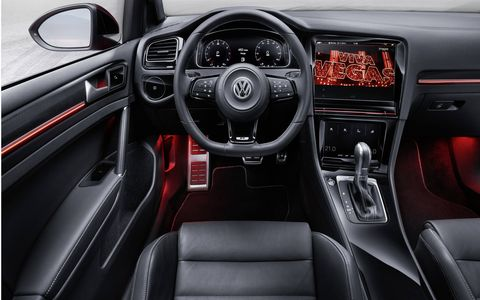 In addition to gesture control the Volkswagen Golf R Touch interior has MirrorLink and connectivity for Apple and Android phones.